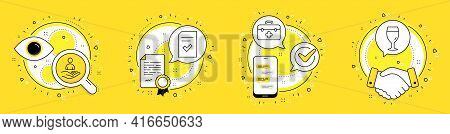 First Aid, Checked File And Recruitment Line Icons Set. Licence, Cell Phone And Deal Vector Icons. B