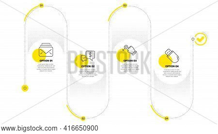 Drag Drop, Mail And Payment Received Line Icons Set. Timeline Process Infograph. Usb Stick Sign. Mov