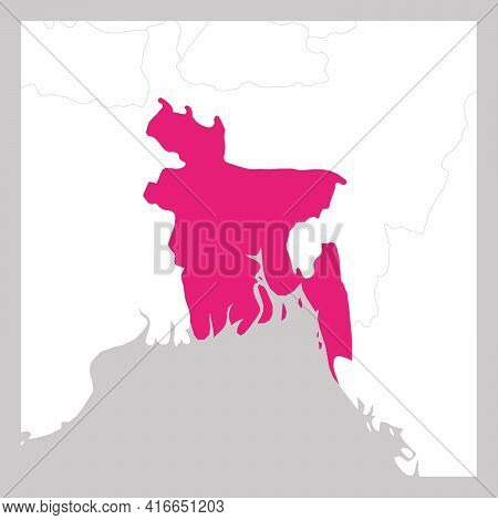 Map Of Bangladesh Pink Highlighted With Neighbor Countries.