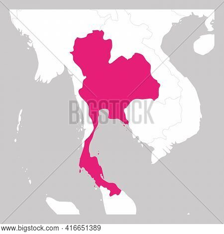 Map Of Thailand Pink Highlighted With Neighbor Countries.