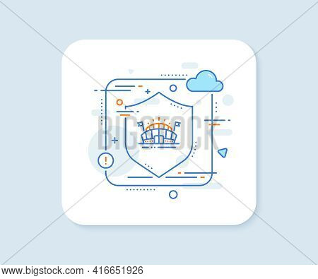 Sports Arena Line Icon. Abstract Vector Button. Stadium With Flags Sign. Sport Complex Symbol. Sport
