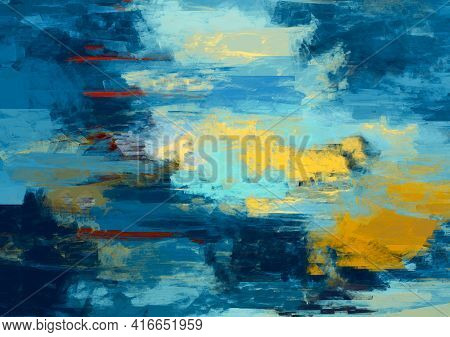 Vivid Abstract Artistic Painting Variety Stripes Tangled Pattern Color Mixture Textured Digital Pain
