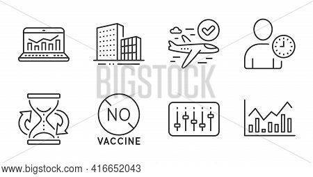 No Vaccine, Time Management And Hourglass Line Icons Set. Confirmed Flight, Web Analytics And Dj Con