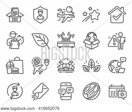 Line Icons Set. Included Icon As Leaf, Search Flight, Human Resources Signs. Sports Arena, Security