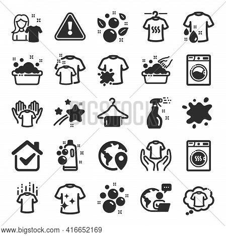 Laundry Icons. Dryer, Washing Machine And Dirt Shirt. Laundromat, Hand Washing, Soap Bubbles In Basi
