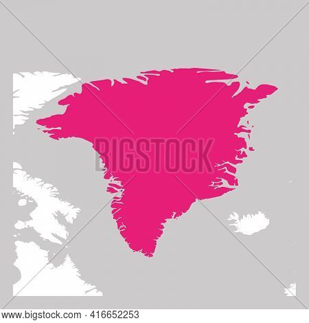 Map Of Greenland Pink Highlighted With Neighbor Countries.