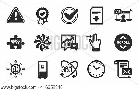 Logistics Network, Full Rotation And Quick Tips Icons Simple Set. Accounting, Refrigerator And Appro