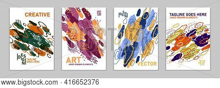 Hand Drawn Art Vector Covers Abstract Backgrounds Set, Artistic Graphic Design Brochures Flyers Or B