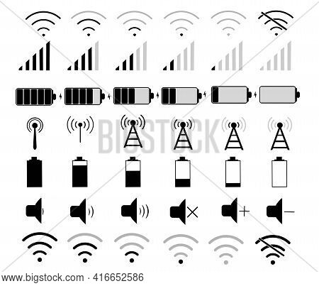 Set Of Vector Icons. Wi-fi Network, Battery Charge, Mute, Communication Signal. Wireless Internet. C