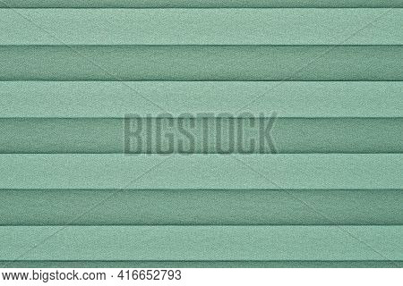 Pleated Window Blind Full Frame Background - Green Color Close Up