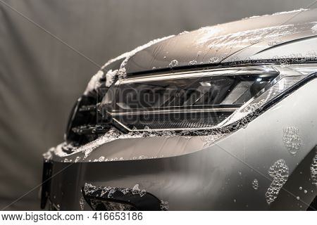 Emulsion Of Car Shampoo With Bubbles For Primary Washing Of Dirt Or First Phase On Car Wash.