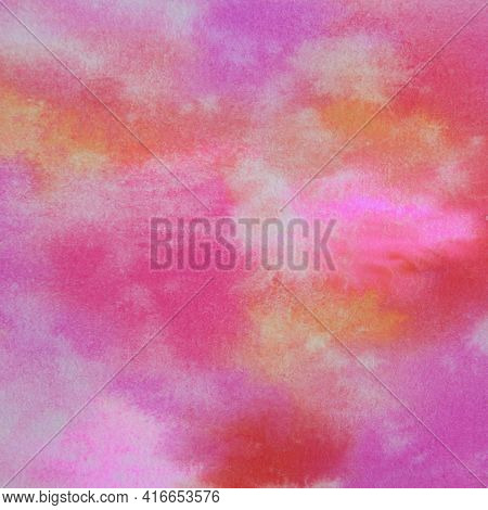 Bright Colors Watercolor Paint Pattern A Handpainted Abstract Background With Magenta, Pink Hot Pink