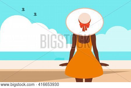 Summertime Vector Illustration With Copy Space Flat Design   Tan Girl In Orange Dress And In White B