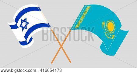Crossed And Waving Flags Of Kazakhstan And Israel