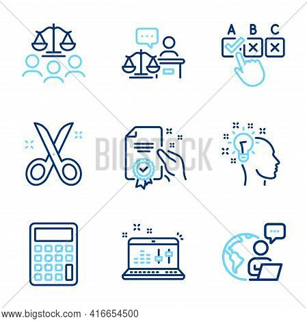 Education Icons Set. Included Icon As Correct Checkbox, Certificate, Court Jury Signs. Sound Check,