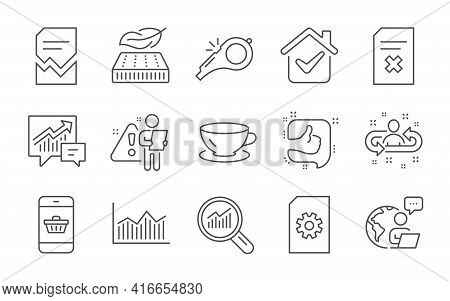 Recruitment, Espresso And Data Analysis Line Icons Set. File Management, Like And Whistle Signs. Cor