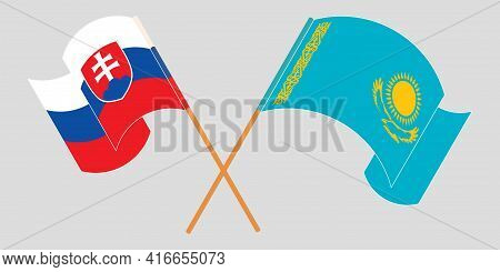 Crossed And Waving Flags Of Kazakhstan And Slovakia