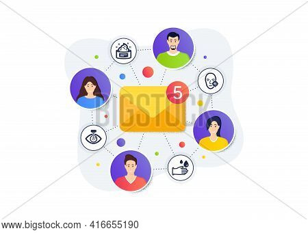 Problem Skin, Eye Laser And Skin Cream Icons Simple Set. Teamwork Messages Banner. Employee Remote W