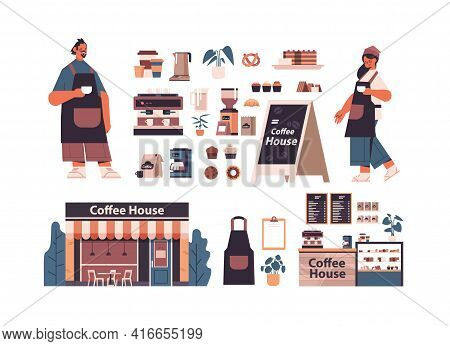 Set Coffee Shop Tools And Accessories With Man Woman Barista In Uniform