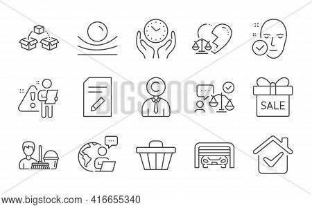 Safe Time, Shop Cart And Cleaning Service Line Icons Set. Copyrighter, Elastic Material And Health S