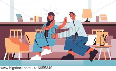 Businessman Molesting Female Employee Sexual Harassment At Work Concept Businesswoman Feeling Disgus