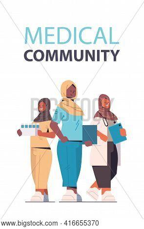 Team Of Arabic Medical Professionals Arab Female Doctors In Uniform Standing Together Medicine Healt
