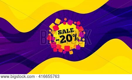 Sale 20 Percent Off Banner. Fluid Liquid Background With Offer Message. Discount Sticker Shape. Coup