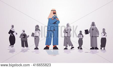 Arab Businessman Leader Standing In Front Of Arabic Businesspeople Group Leadership Business Competi