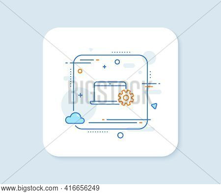 Laptop Computer Icon. Abstract Square Vector Button. Notebook Service Sign. Portable Personal Comput