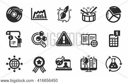 Online Chemistry, International Globe And Pie Chart Icons Simple Set. Chemistry Experiment, Drums An