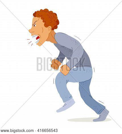 Aggressive Man Psychological Abuser Vector Illustration, Scream And Shout Quarrel With Violent Clenc