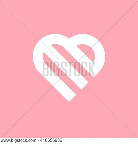 E Or M Combined With Letter B, Letter Based Design In Heart Shape Vector Symbol