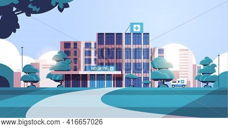 City Background With Hospital Building And Ambulance Car Medical Center Concept Modern Clinic Exteri