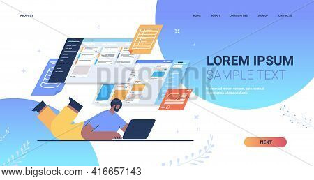 Businessman Analyzing Data On Virtual Boards Analysis Process Digital Marketing Planning Company Str