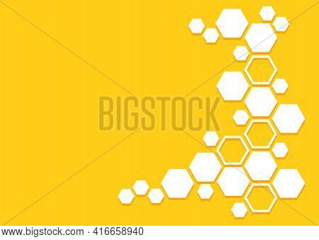 Bee Honeycomb Vector Pattern. Honey Background With Hexagons. Yellow And White Geometric Texture. Ab