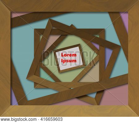 Empty Wooden Picture Frames Are Stacked On One Another With A Single Focal Point Of A Small Frame Fo