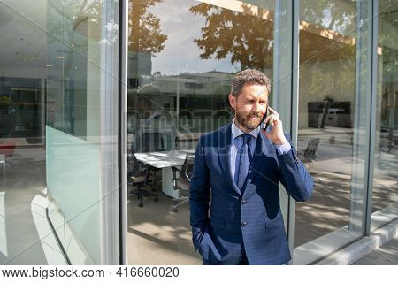 Business People. Ceo Company Leader Executive Boss. Caucasian Businessman In Suit Using Smartphone O