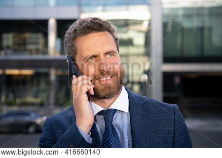 Businessman Portrait. Man On Smart Phone. Casual Urban Professional Business Man Using Smartphone Sm