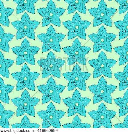 Star With Octopus Suckers, Abstraction. Seamless Pattern. For Backgrounds And Textures. Illustration