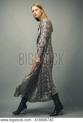 Fashion Walk. Woman With Trendy Clothes. Animal Print, Provocative