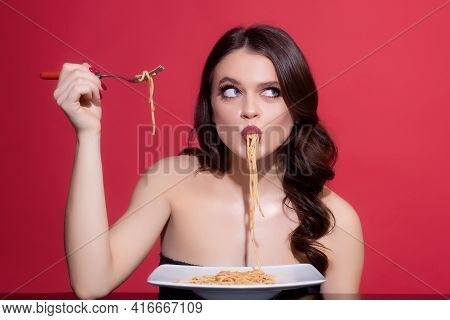 Italian Cuisine Healthy Menu. Sexy Woman Eat Tasty Pasta. Food From Italia. Spaghetti Bolognese