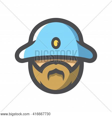 Old French Soldier Vector Icon Cartoon Illustration.