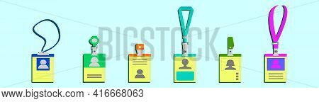 Set Of Id Card Cartoon Icon Design Template With Various Models. Modern Vector Illustration Isolated