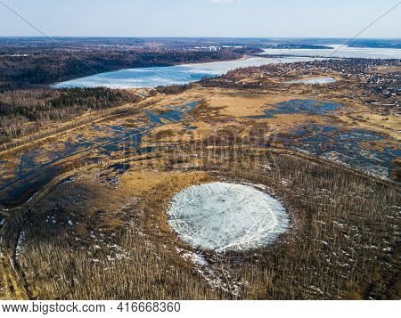 Bottomless Circle Lake In Solnechnogorsk District, Moscow Region. Russia. Aerial View