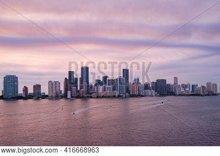 Miami Night. Panoramic View Of Miami At Sunset, Night Downtown