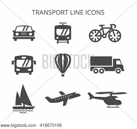 Land, Water And Air Transport. Set Of Vector Icons In Flat Style