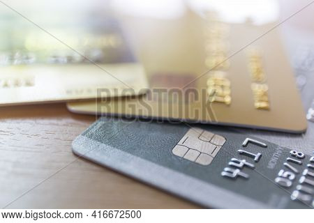 Close Up Of Credit Card Soft Focus And Selective Focus For Background. Soft Focus Close Up Credit Ca