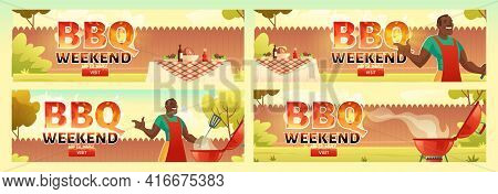 Bbq Weekend Flyers. Invitation Banner To Barbecue Party With Black Man Cooks Meat On Grill. Vector P