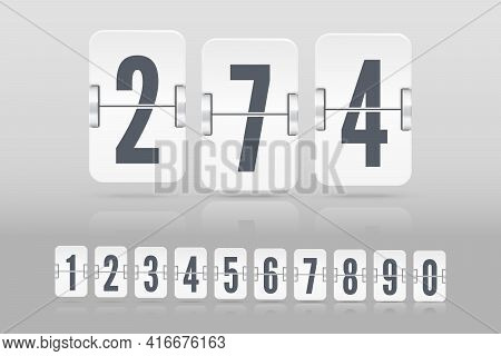 Set Of White Flip Score Board Numbers With Reflection Floating On Different Height For Countdown Tim