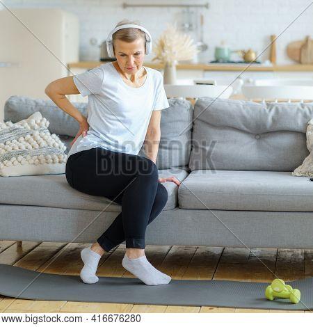 Senior Adult Woman Touching Back Feeling Backache, Discomfort Low Lumbar Muscular Kidney Pain. Elder
